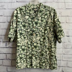 Tommy Bahama- green floral button down shirt